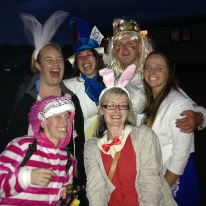 The White Queen and the champagne winners at Wilton Windmill